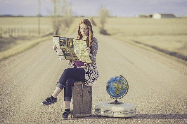 voyage, valise, carte